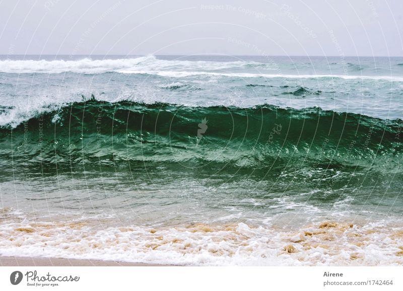 Vacation & Travel Blue Green Water Ocean Beach Movement Sand Waves Power Speed Threat Adventure Strong Respect Beige