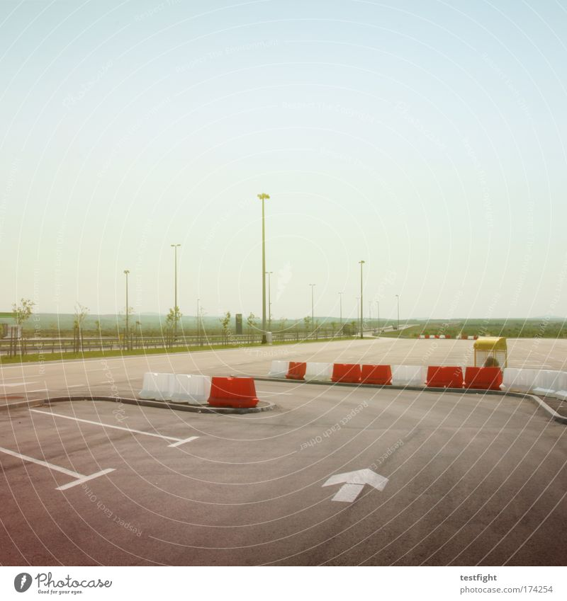 parking space Colour photo Multicoloured Exterior shot Copy Space top Morning Shadow Central perspective Traffic infrastructure Logistics Road traffic