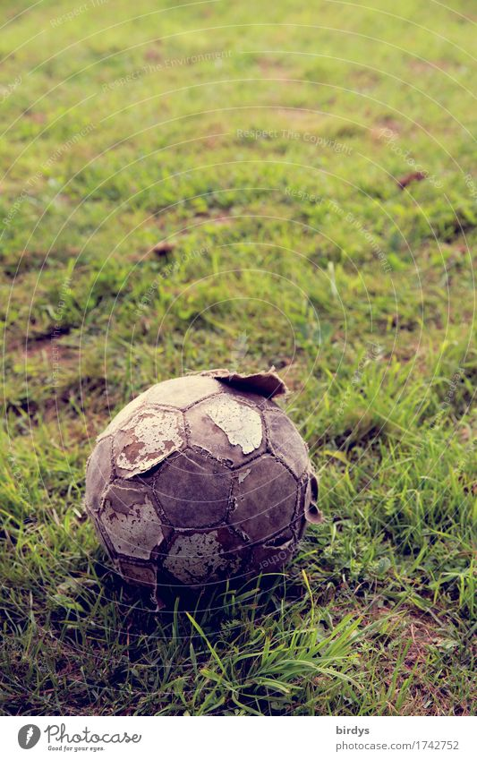 as long as it rolls... Ball sports Soccer Football pitch Meadow Foot ball Old Utilize Wait Broken Round Modest Poverty Society Hope Passion Transience Value