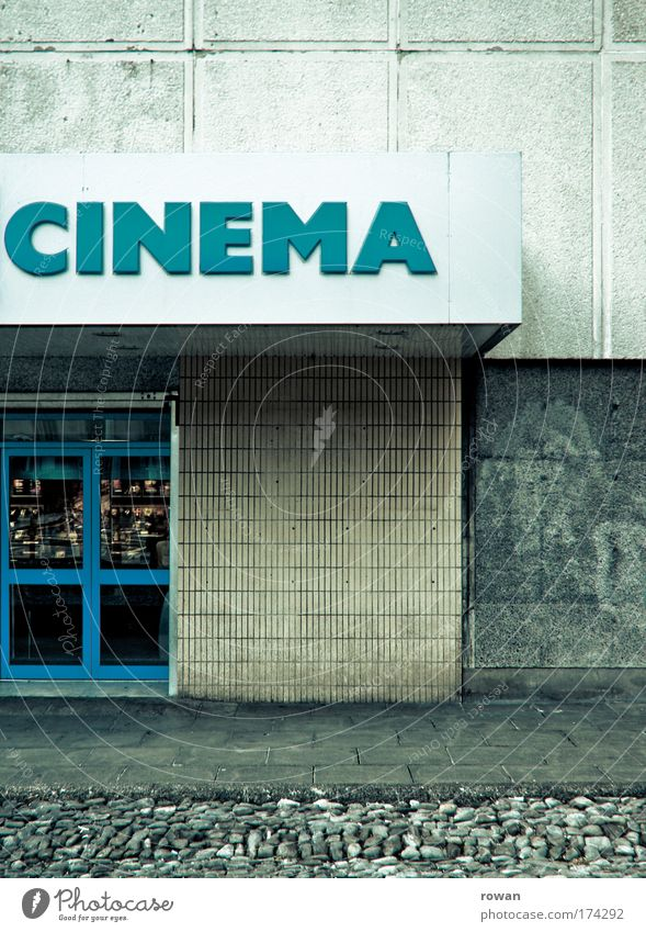 Old Blue Dark Building Dirty Architecture Retro Gloomy Film industry Manmade structures Turquoise Cinema Shabby Anticipation Going out Media