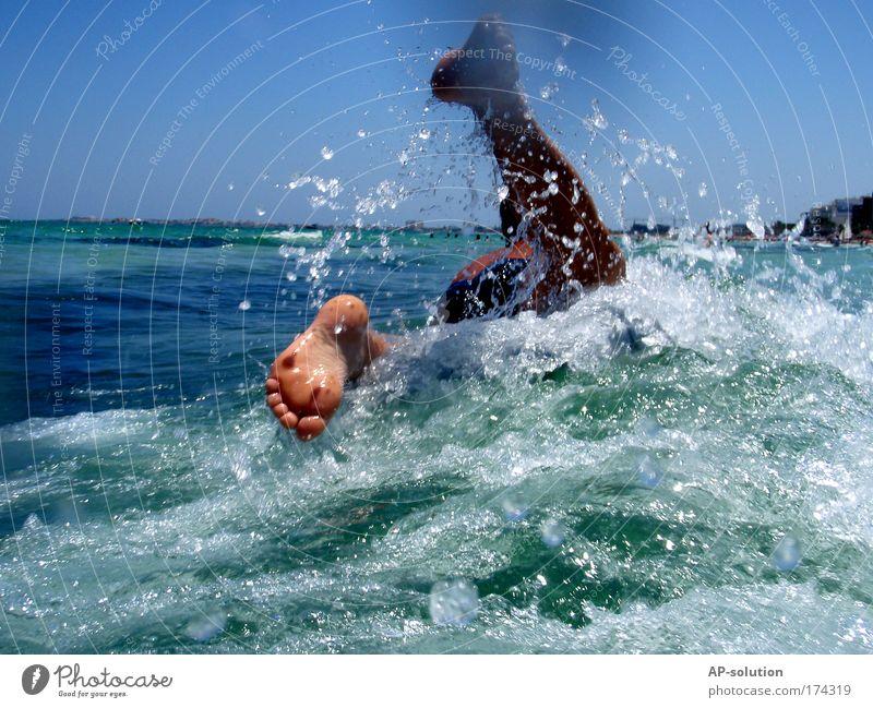 Human being Sky Blue Water Green Vacation & Travel Summer Ocean Joy Life Feet Swimming & Bathing Waves Wild Skin Wet