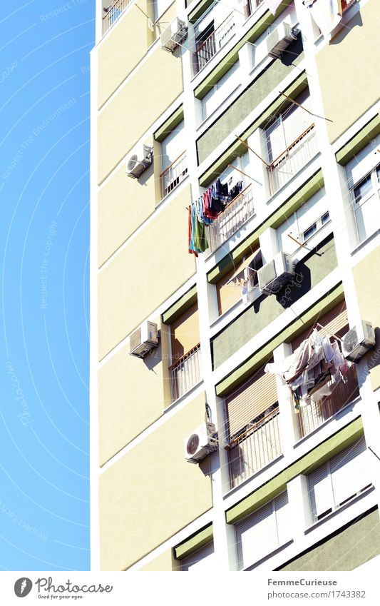 Croatia01. Town Capital city Port City House (Residential Structure) High-rise Facade Window Air conditioning Clothesline Laundry Apartment Building Split