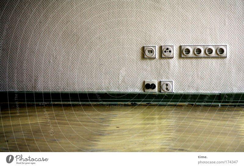Wall (building) Glittering Floor covering TV set Media Wallpaper Telecommunications Uninhabited Parquet floor Socket
