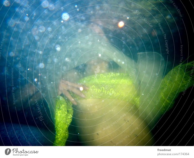 wet dream Colour photo Multicoloured Underwater photo Day Flash photo Blur Looking away Human being Feminine Young woman Youth (Young adults) Woman Adults Chest