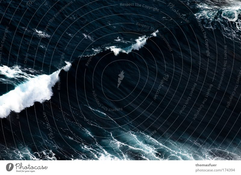 Violence (ig) Colour photo Exterior shot Deserted Copy Space right Day Bird's-eye view Ocean Waves Elements Water Wind Gale Threat Fantastic Gigantic Large Blue