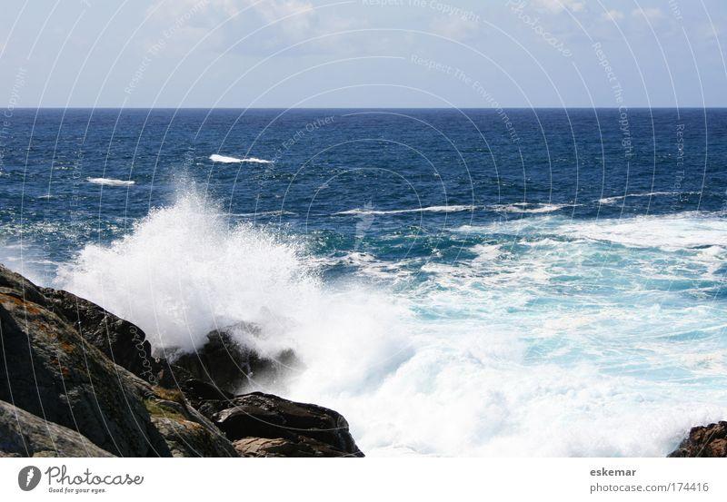 Nature Water Beautiful Sky Ocean Blue Vacation & Travel Life Movement Freedom Power Waves Coast Horizon Rock Fresh