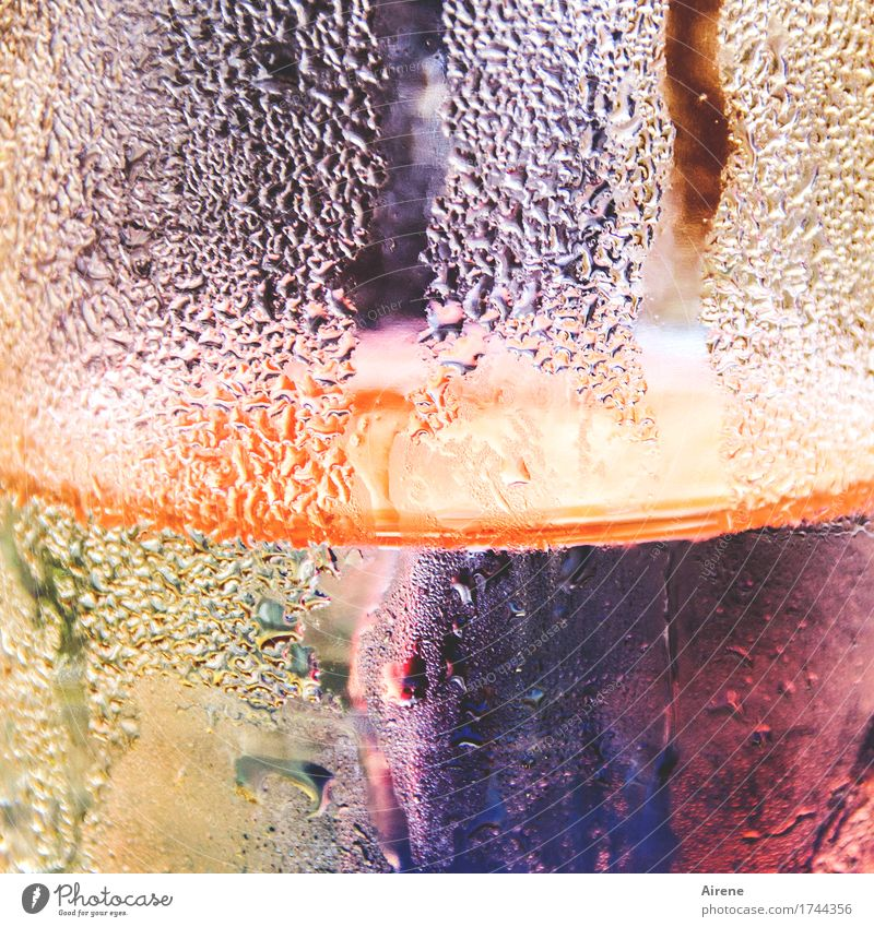 watercolours Glass Water Drop Esthetic Fluid Fresh Cold Wet Multicoloured Violet Orange Colour Chilled Cold drink Condensation Delicious Drinking water