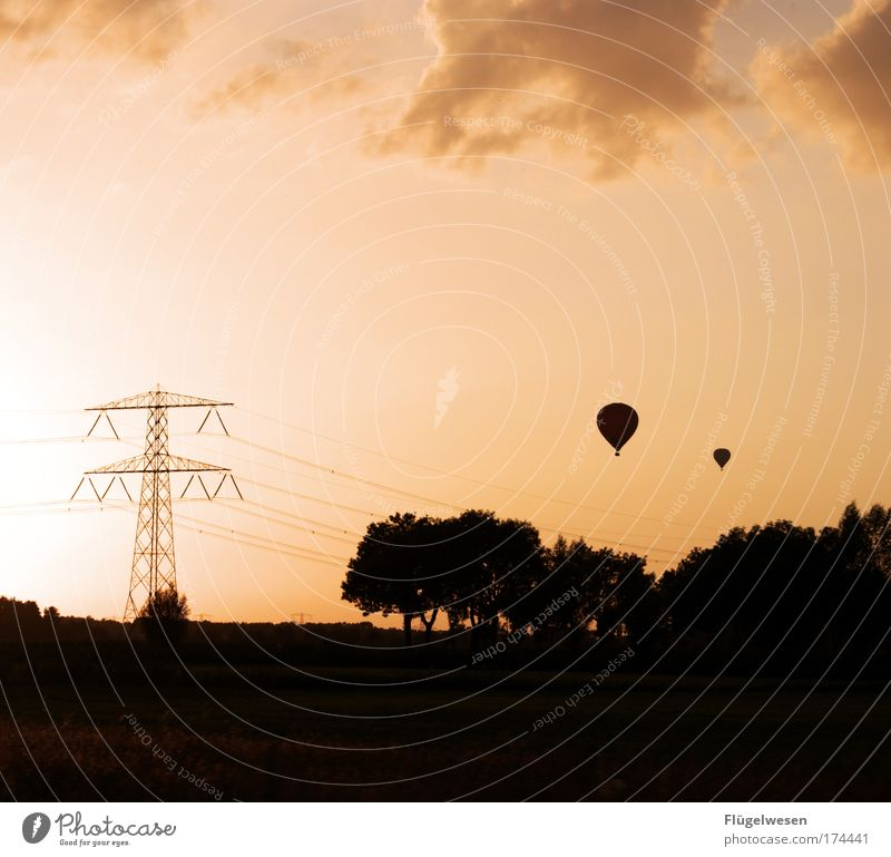 Sky Clouds Relaxation Freedom Together Flying Trip Happiness Vantage point Night sky Warm-heartedness Discover Friendliness Hot Air Balloon To enjoy