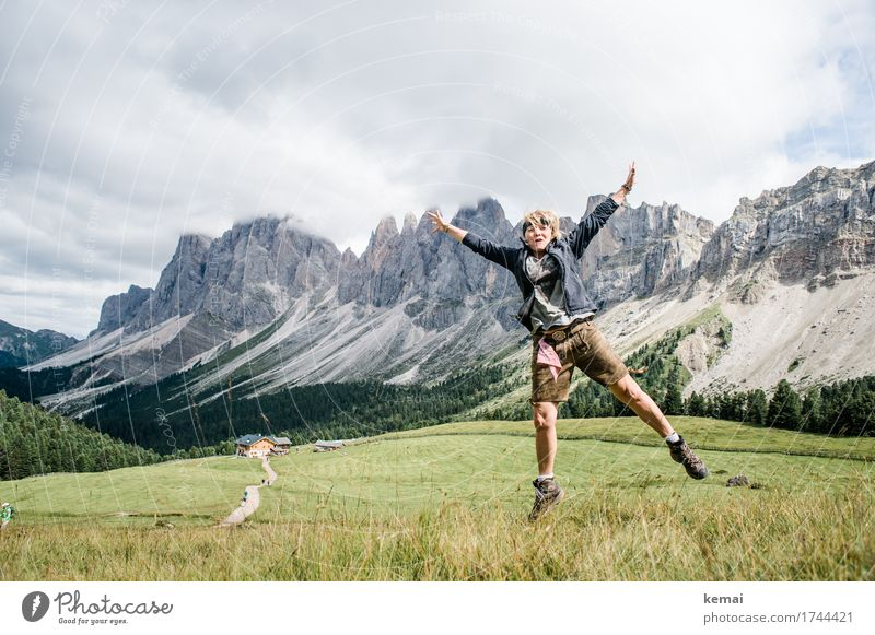Human being Woman Sky Vacation & Travel Summer Landscape Clouds Joy Mountain Adults Life Lifestyle Meadow Feminine Freedom Rock