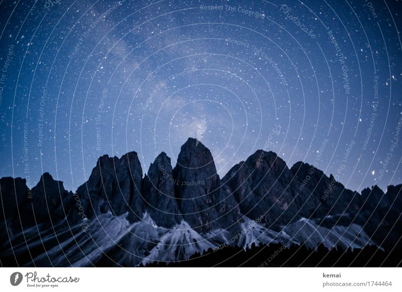 Boldly go where no man has gone before Adventure Freedom Environment Nature Landscape Cloudless sky Night sky Stars Beautiful weather Rock Alps Mountain