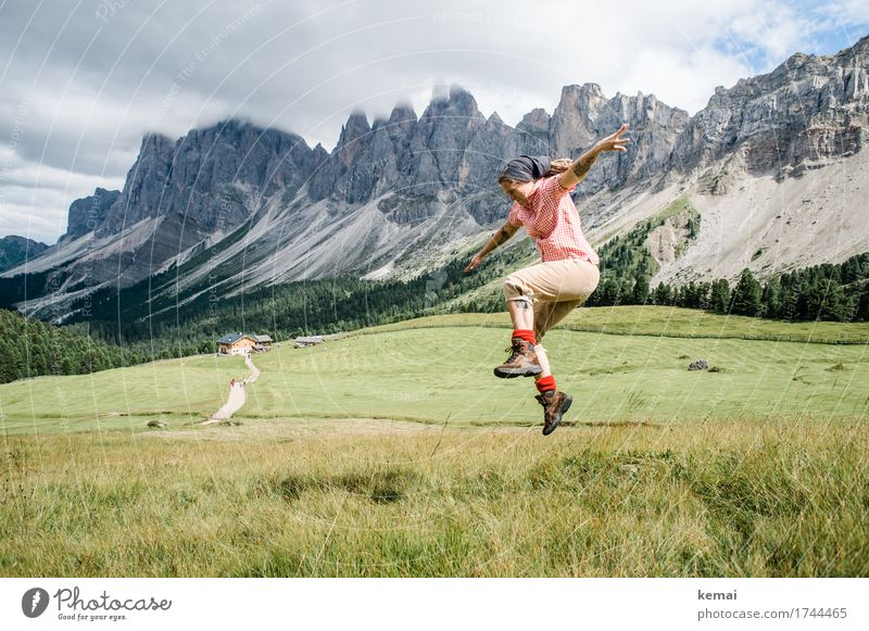 Woman jumps in the mountains Life Harmonious Well-being Contentment Leisure and hobbies Playing Vacation & Travel Trip Adventure Freedom Mountain Hiking