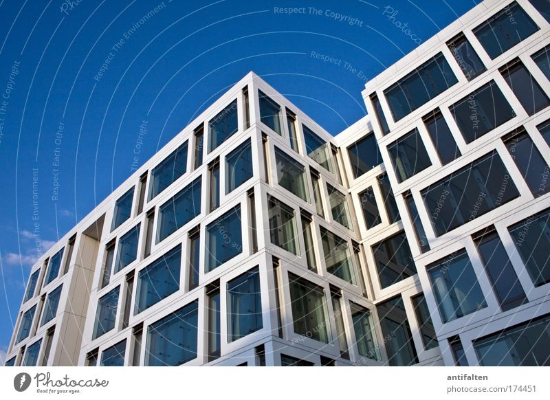 Have fun cleaning! Sky Cloudless sky Summer Beautiful weather Duesseldorf Bank building Architecture Office building Facade Window Glass Steel Esthetic