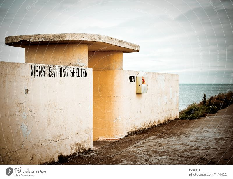 bathing bunker Colour photo Subdued colour Exterior shot Day Coast Lakeside Beach Ocean Swimming & Bathing Extract Concrete Concrete wall Architecture Yellow