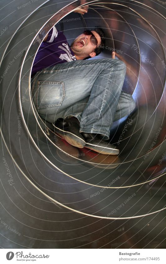 Human being Man Scream Tunnel Pipe Panic Playground Slide Claustrophobia Skid Scaredy-cat Tunnel vision