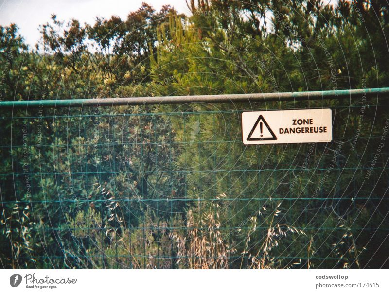 Nature Plant Landscape Environment Garden Fear Signs and labeling Dangerous Safety Threat Communicate Signage Protection Fence Border