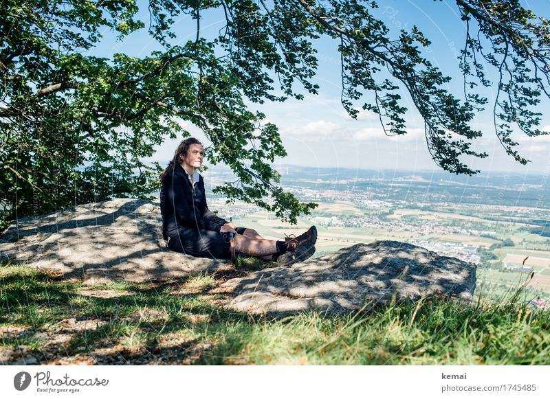 Human being Summer Landscape Relaxation Calm Far-off places Adults Life Feminine Style Happy Freedom Rock Contentment Leisure and hobbies Hiking