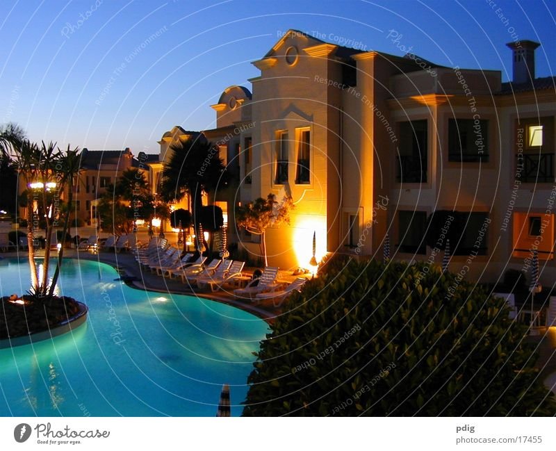aquamarine Sunset Swimming pool Dark Architecture illuminated building Contrast Blue Water