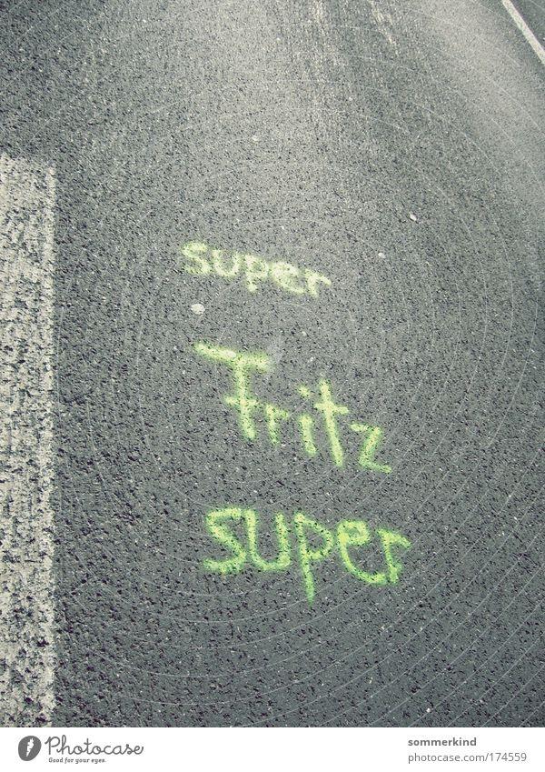 super Fritz super Joy Sportsperson Success Racecourse Career Team Masculine Street Sign Characters Graffiti Line Positive Green Happy Contentment Enthusiasm