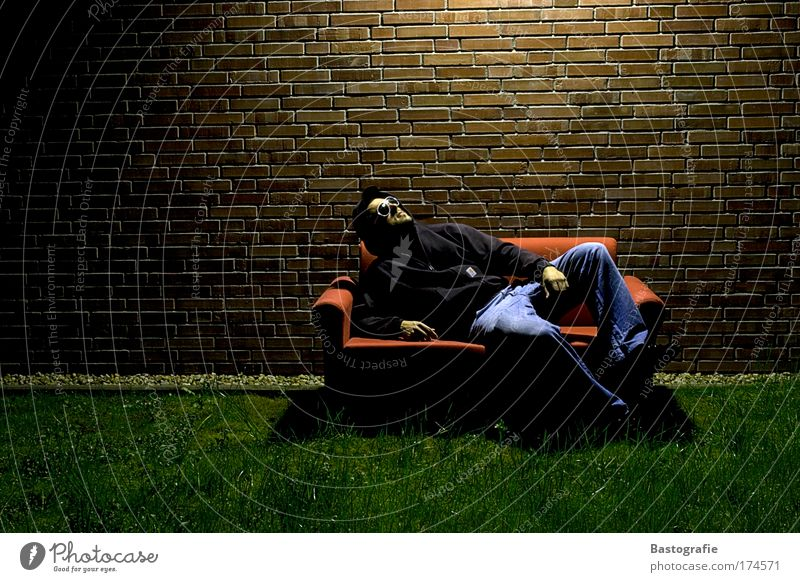 Human being Calm Relaxation Grass Freedom Lighting Sit Lie Sofa Room Brick Living room Cozy Time Rest