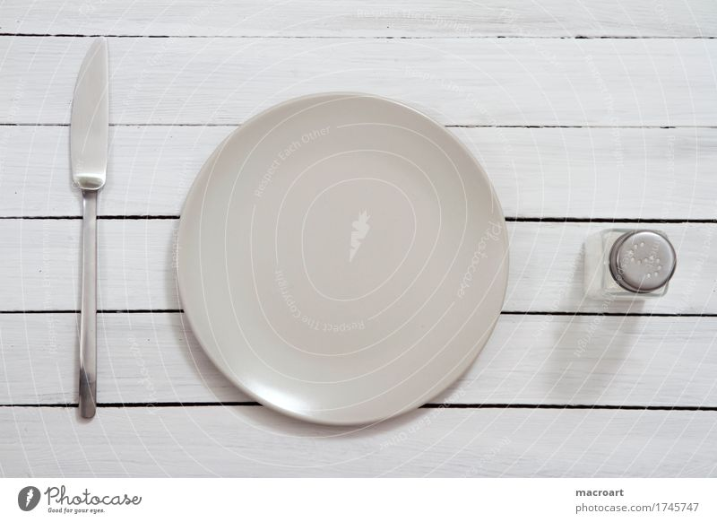 hungry? Appetite Plate Small Knives Table-knife Cutlery Salt Salt caster Wooden table shabby White Empty Dinner Wait Still Life