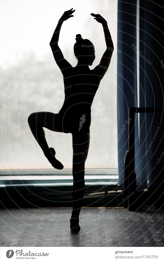 Ballerina silhouette dancing in black and white Elegant Beautiful Dance Academic studies Human being Girl 1 13 - 18 years Youth (Young adults) Dancer Ballet