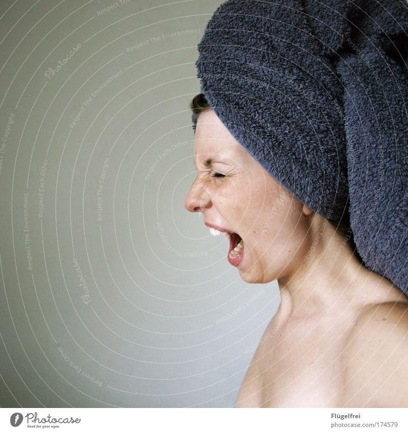 Where's my squeaker ducky?! Feminine 1 Human being 18 - 30 years Youth (Young adults) Adults Scream Aggression Anger Nerviness Towel Turban Violet Mouth Woman