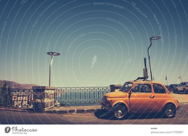 Vacation & Travel Ocean Street Coast Small Orange Tourism Transport Car Europe Retro Italy Cute Past City trip Nostalgia