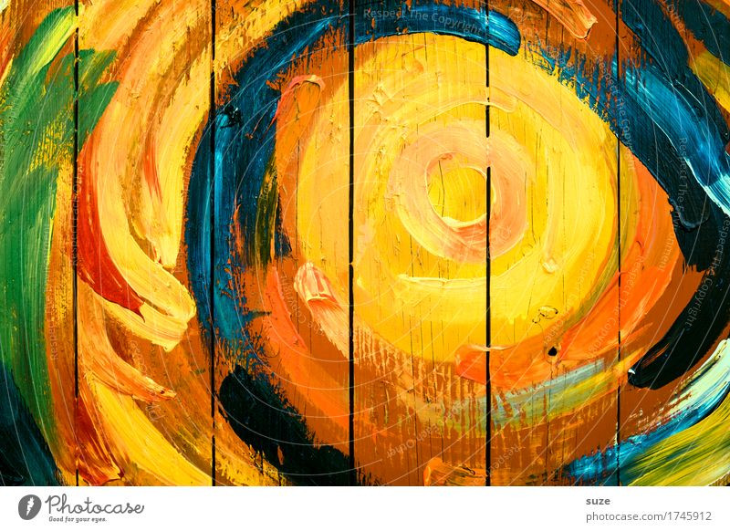 Blue Green Sun Red Yellow Wall (building) Graffiti Wood Line Orange Creativity Happiness Simple Circle Sign Stripe
