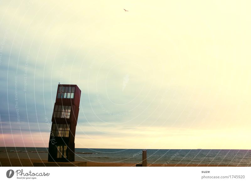 The skewness Beach Ocean Environment Landscape Sand Sky Coast Tower Tourist Attraction Monument Rust Exceptional Dark Tall Moody Mysterious Barcelona Promenade