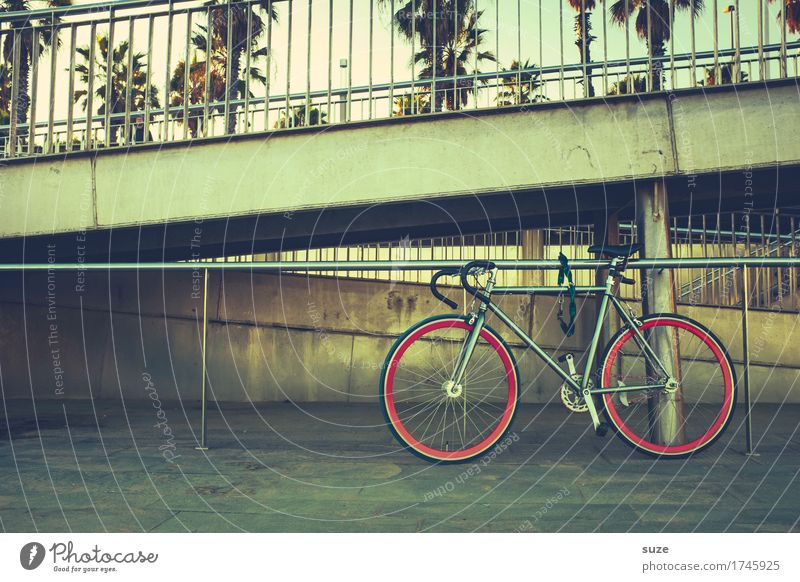 Lanes & trails Sports Lifestyle Leisure and hobbies Bicycle Stand Retro Culture Cycling Youth culture Footpath Handrail Spain Banister Barcelona Parking