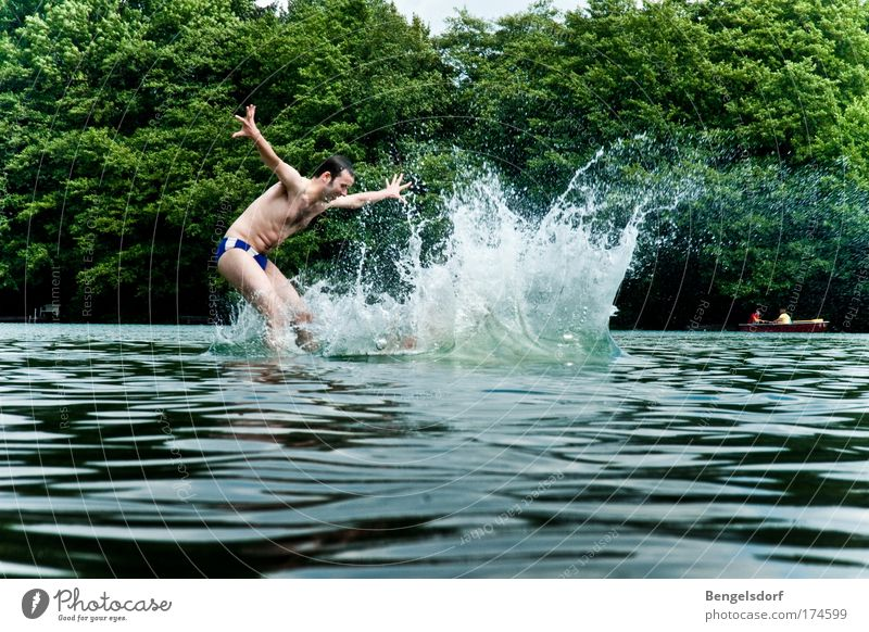 Human being Nature Youth (Young adults) Water Vacation & Travel Plant Summer Life Freedom Jump Swimming & Bathing Leisure and hobbies Drops of water Young man To fall Fitness