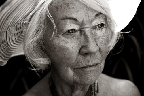 bovary Black & white photo Exterior shot Experimental Portrait photograph Looking away Feminine Grandmother Senior citizen 1 Human being 60 years and older