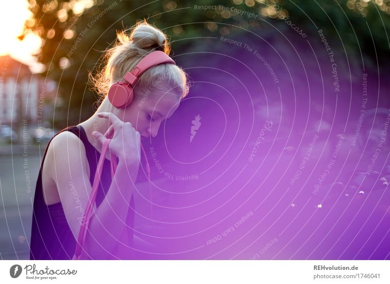 Young woman in the city Headphones purple Woman Music Youth (Young adults) 18 - 30 years Face Youth culture Culture Design Style Hair and hairstyles Concern
