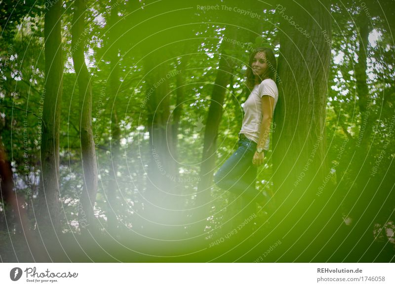 Julia in the woods. Leisure and hobbies Human being Feminine Young woman Youth (Young adults) 1 18 - 30 years Adults Environment Nature Landscape Tree Forest