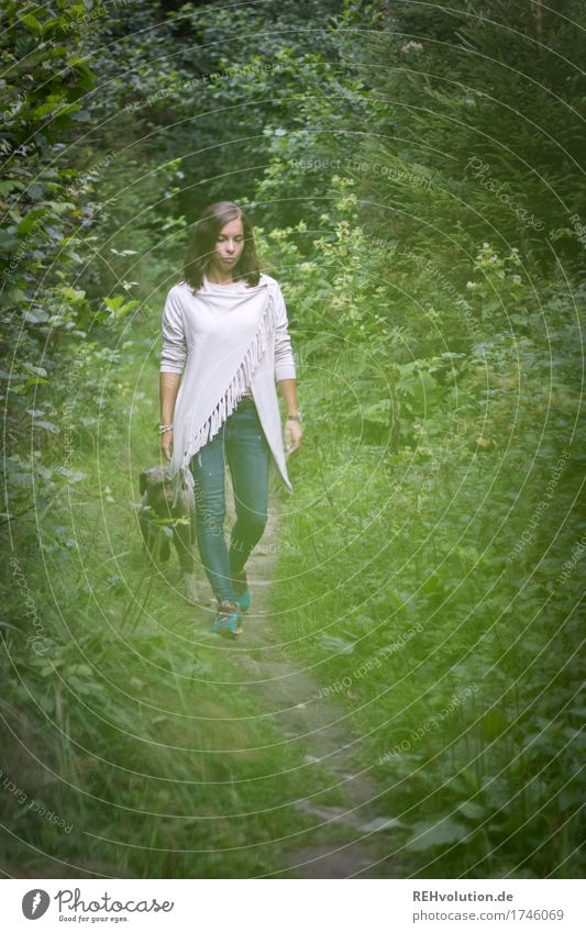 Human being Dog Nature Youth (Young adults) Green Beautiful Young woman Landscape Loneliness Animal Forest 18 - 30 years Adults Environment Sadness Lanes & trails