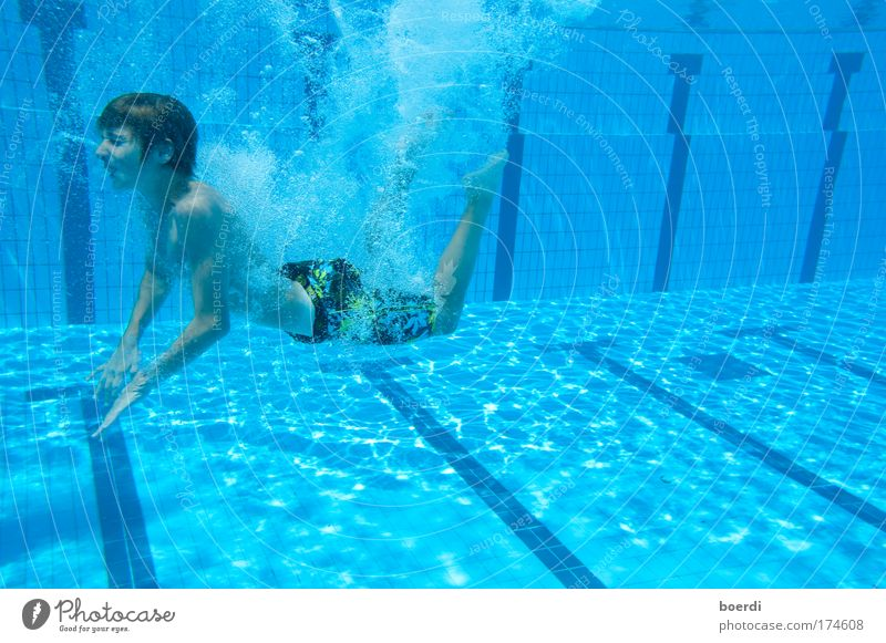 upswing Colour photo Underwater photo Day Sunlight Deep depth of field Long shot Full-length Closed eyes Swimming & Bathing Leisure and hobbies