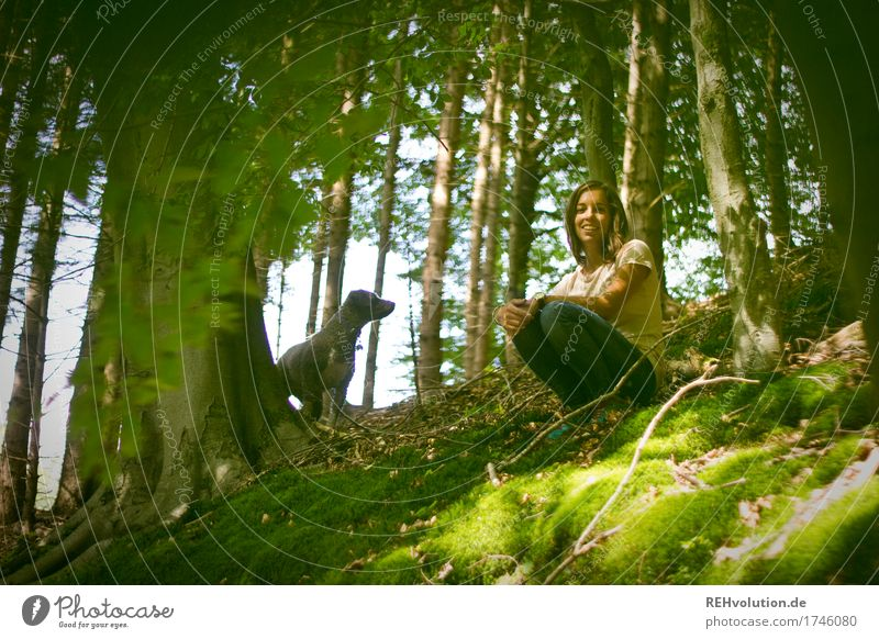 Julia and Fritzi in the woods. Human being Feminine Young woman Youth (Young adults) 1 18 - 30 years Adults Environment Nature Plant Tree Forest Animal Pet Dog