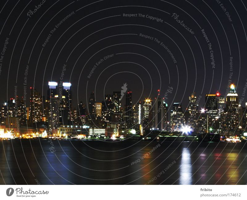 Skyline at night Colour photo Exterior shot Deserted Night Contrast Silhouette Reflection Long exposure Central perspective Front view Vacation & Travel Tourism