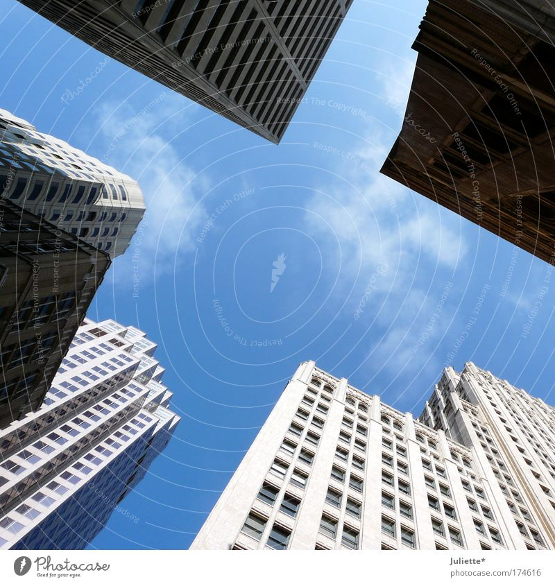 White Blue City Summer Clouds Above Window Building Architecture Glass Concrete Large High-rise Horizon Facade