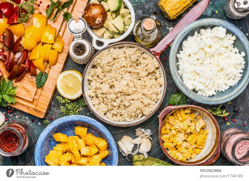 Quinoa with chopped vegetables Ingredients Food Vegetable Lettuce Salad Fruit Grain Herbs and spices Cooking oil Nutrition Lunch Buffet Brunch Organic produce