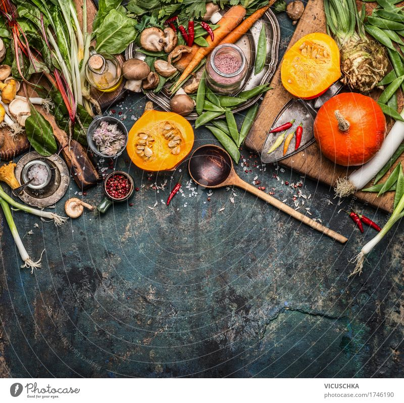 Pumpkin with vegetarian ingredients Food Vegetable Herbs and spices Cooking oil Nutrition Organic produce Vegetarian diet Diet Slow food Crockery Bowl Knives
