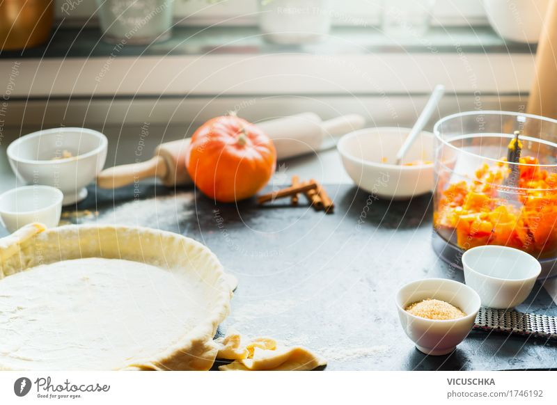 Pumpkin cake preparation on kitchen table at the window Food Vegetable Cake Nutrition Banquet Crockery Lifestyle Style Design Healthy Eating Living or residing