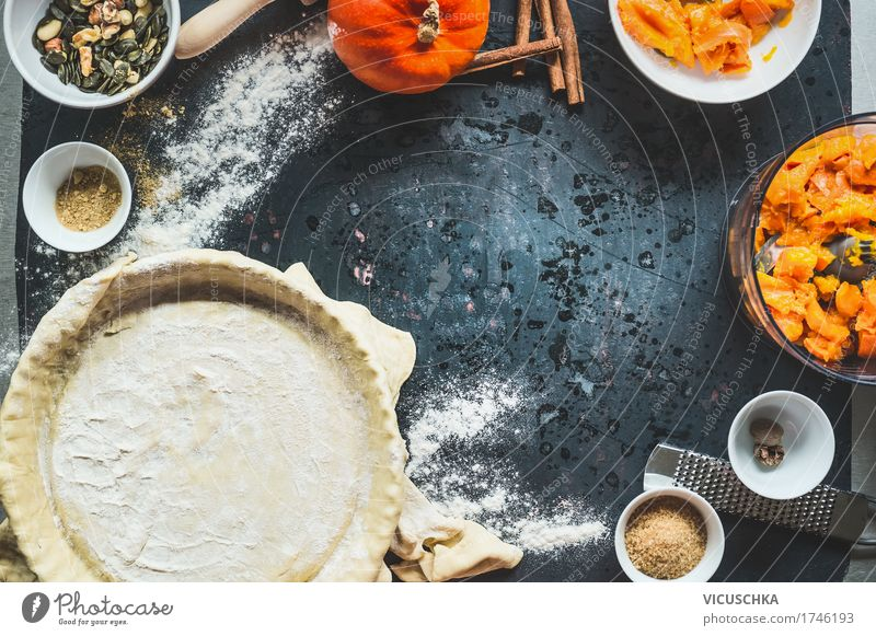 Pumpkin cake preparation on kitchen table Food Vegetable Dough Baked goods Cake Dessert Herbs and spices Nutrition Banquet Organic produce Vegetarian diet