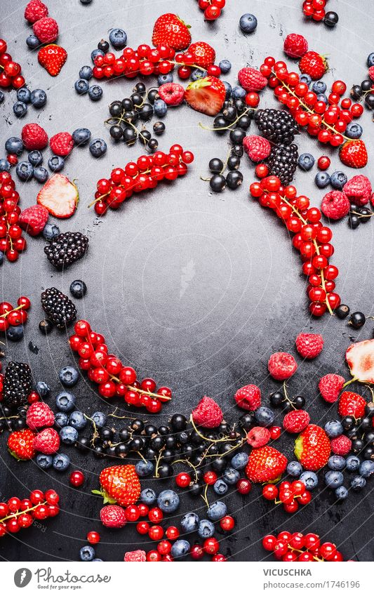 Various berries frame Food Fruit Dessert Nutrition Organic produce Vegetarian diet Diet Juice Style Design Healthy Eating Life Summer Nature Vitamin Berries