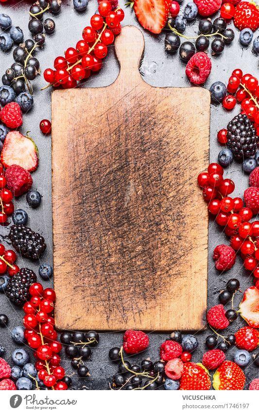 Empty chopping board and berries Food Fruit Organic produce Vegetarian diet Crockery Style Design Healthy Eating Life Summer Nature Vitamin Berries