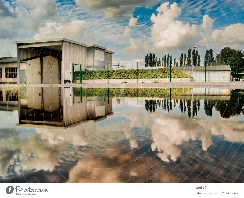 deposit Sky Clouds Climate Beautiful weather Tree Grass Seyda Saxony-Anhalt Germany Small Town Industrial plant Gate Facade Identity Idyll Workplace