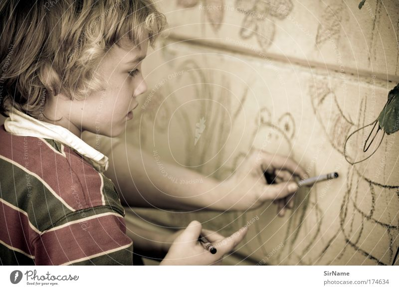 Human being Child Beautiful Graffiti Playing Boy (child) Art Infancy Authentic Design Communicate Esthetic School building Idea Education Culture