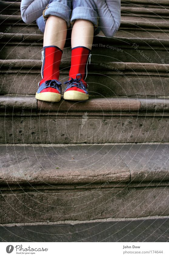 Youth (Young adults) Red Loneliness Style Stone Feet Footwear Legs Wait Crazy Sit Lifestyle Stairs Jeans Uniqueness Woman