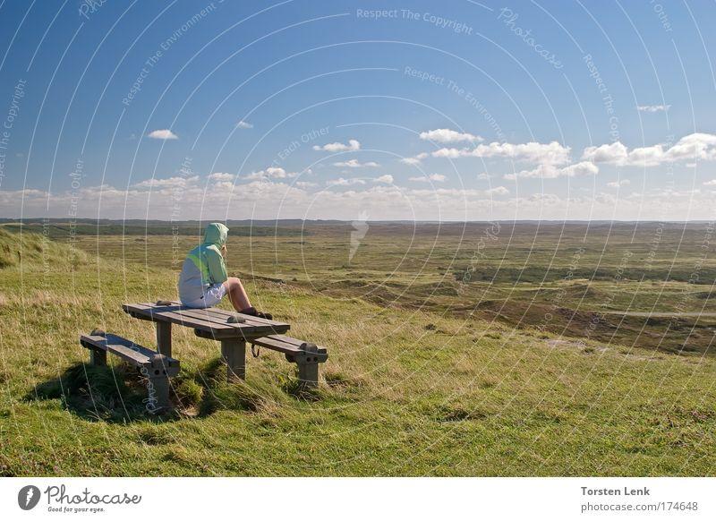 Human being Sky Green Blue Emotions Dream Landscape Hiking Horizon Nature Heathland