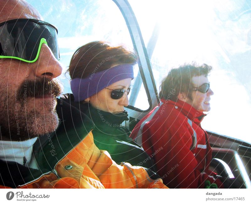 Sun Group Cool (slang) Facial hair Sunglasses Chair lift Cable car Winter vacation Headband
